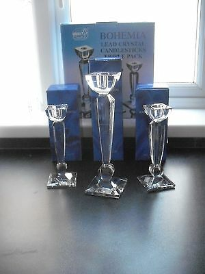 boxed set of 3, cut glass crystal candlesticks, Bohemian crystal