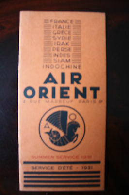 Compagnie Air Orient Line Summer Service 1931 Extremely Rare !!
