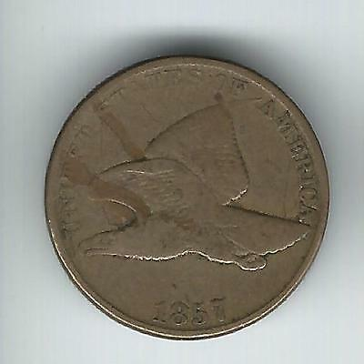 1857 Flying Eagle Cent VG - Interesting Die Crack!