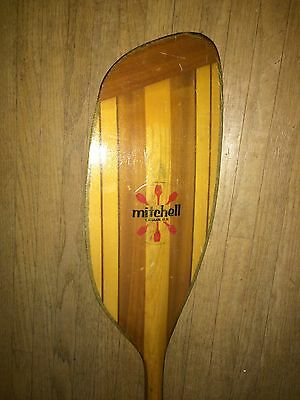 Mitchell Wooden One Piece White Water Kayak Paddle.