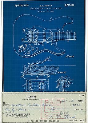 Leo Fender Signed 1968 Check & Stratocaster Blue Patent Picture w/Stub Inventor