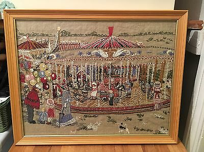 Vintage Embroidery Of A Fairground In Frame