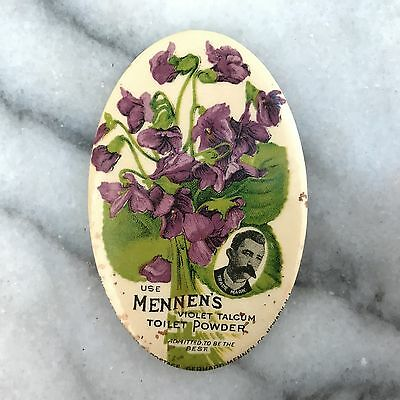 Vintage Mennen's Violet Talcum Powder Celluloid Advertising Pocket Mirror