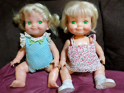"Vintage Ideal 9"" 1970 Belly Button Baby Dolls - Adorable Action Dolls - VG-EX"