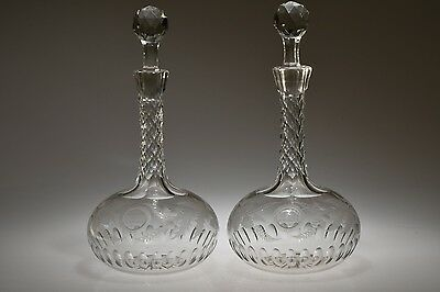 c. 1876 AMERICAN OR ENGLISH ENGRAVED AND CUT PAIR OF AWARD DECANTER FLINT GLASS