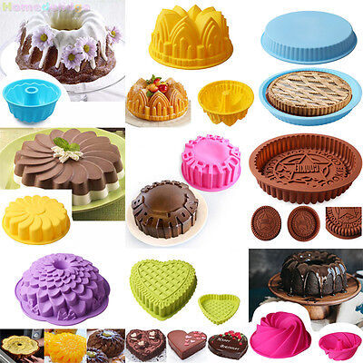 Large Silicone Cake Mold Pan Muffin Chocolate Pizza Pastry Baking Tray Mould