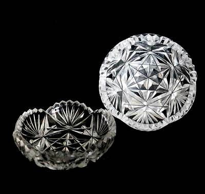 Vintage pretty pair of cut crystal pin dishes in fantastic condition