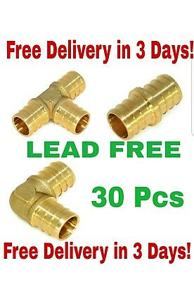 "(30) 1/2"" BRASS PEX FITTINGS -ELBOW,COUPLER, TEE 10 Each"