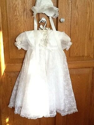 Vintage 50's Organza Christening Gown  4 Piece Little Folks Giftware NYC EVC
