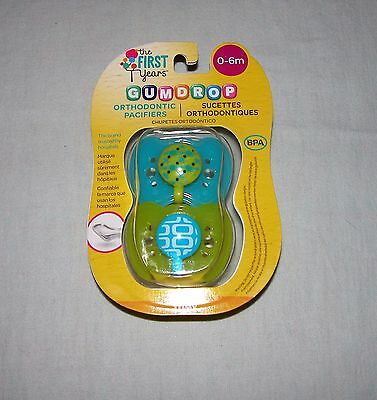 The First Years Gumdrop Orthodontic (2) Pacifiers Blue/Green New/0-6 Months