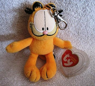 New With Tags - Garfield - Plush - Beanie Babies Key Chain - Great Gift Item!!