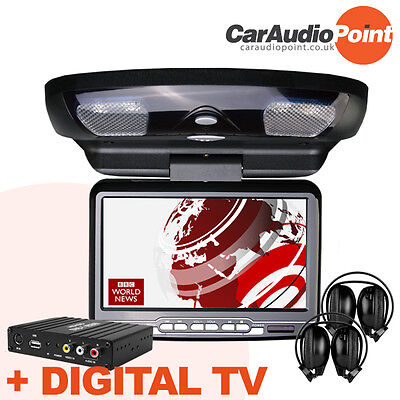 """9"""" Car Roof Mounted Dvd Cd Player Monitor Digital Tv Freeview Usb Sd Mp4 Avi"""
