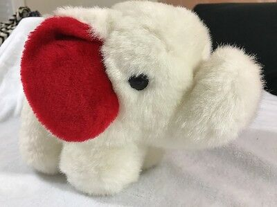❤ Vintage Elephant Plush Jimmy Plush Toys White Red Stuffed Animal