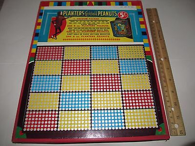 Vintage Planters Cocktail Peanuts Advertising 5 Cent Wooden Punch Board