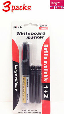 3x Pack of Whiteboard Marker w Refill Large Volume School Office Use 10452