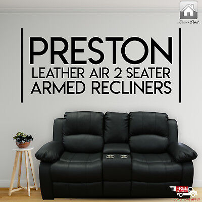 New Luxury Preston Modern Leather Air 2 Seater Armed Recliners w/ Console, Black