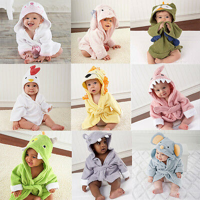 Lovely Baby Kids Boys Girls Animal Cartoon Hooded Beach Bath Towel Wrap Bathrobe