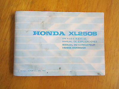 Honda  Xl250S  Owners Manual