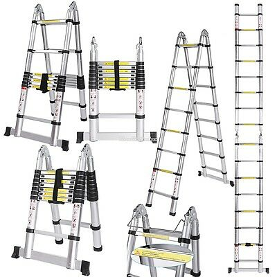 5M Multi-Purpose Telescopic Ladder Extendable 8 Step Aluminium Folding Ladder