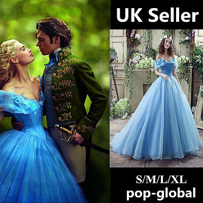 FAST POST Blue Princess Cinderella Dress Cosplay Costume Adult Party Cosplay UK!