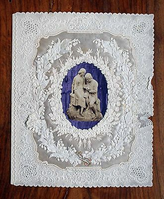 Large Victorian Valentine Card Dobbs Kidd Double Lace Paper Hand Painted Picture