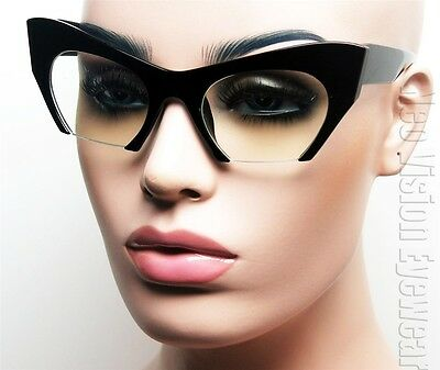 Oversized Cat Eye 50s Pinup Glasses Vintage Style Razor Bottom Clear K586