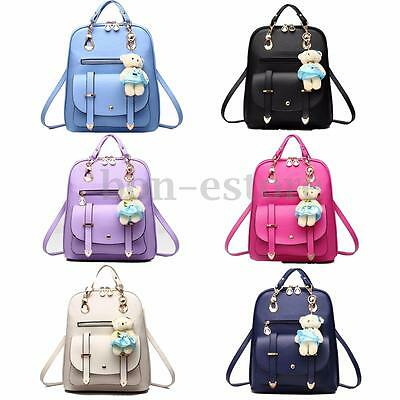 Travel Women Leather Backpack School Girls Outdoor Satchel Shoulder Rucksack Bag