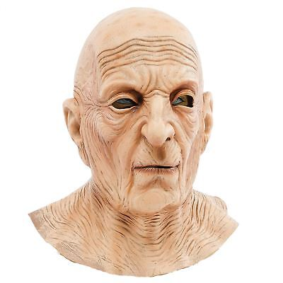 Mens Old Man Mask Lined Wrinkle Neck Latex Full Overhead Fancy Dress Costume New