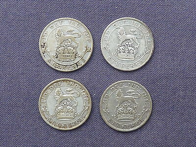 1924 1925 1926 & 1927 .500 SILVER 6d SIXPENCES