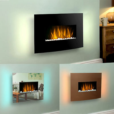 Modern LED Wall Mounted 2KW RGB Fireplace Colour Remote Control Electric Heater