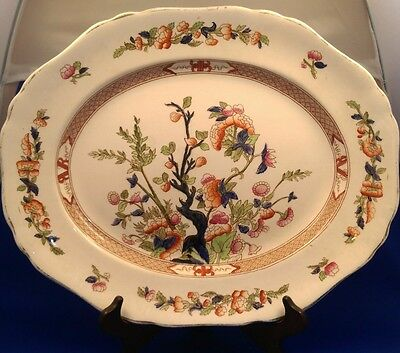 """Antique INDIAN TREE - HANCOCK & SONS - Extra Large OVAL SERVING PLATTER (16"""")"""