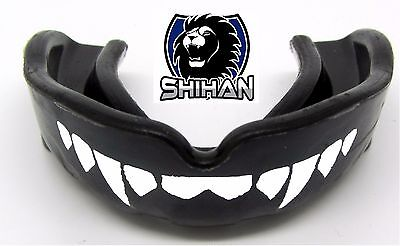 BOXING WRESTLING UFC Black 'FANGS' Teeth Gum Shield Mouth Guard Vampire