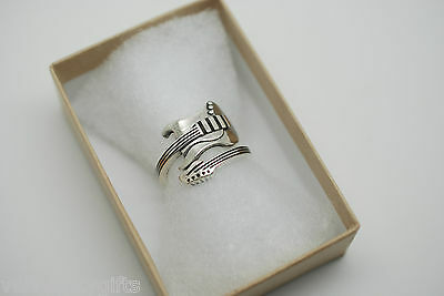 Gift for Guitar Player Adjustable Silver 925 Ring Size K L M N Mens Ladies Gift