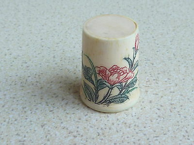Beautiful Bone Thimble Red Flower And Bud Design