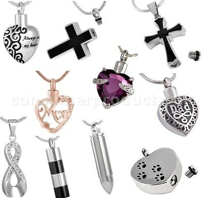 Cremation Jewellery Ashes Hair Urn Pendant Keepsake Memorial Necklace Locket