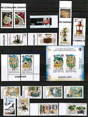 Unmounted Mint Yearly 2007 Set Turkish Cyprus