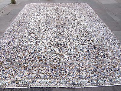 Fine Old Traditional Hand Made Persian Oriental Cream Wool Carpet Rug 400x300cm
