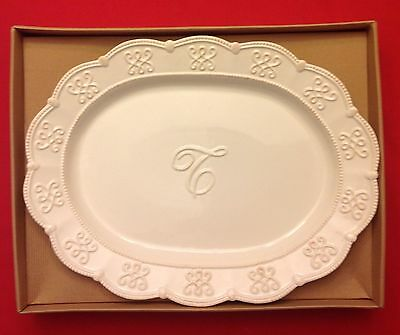 Mud Pie Initial T PLATTER Signature White Ceramic Knot & Beau Collection 4071042