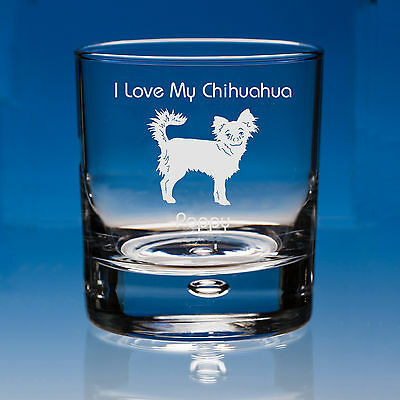 Long Haired Chihuahua Dog Lover Gift Engraved Whisky Glass: Can Be Personalised