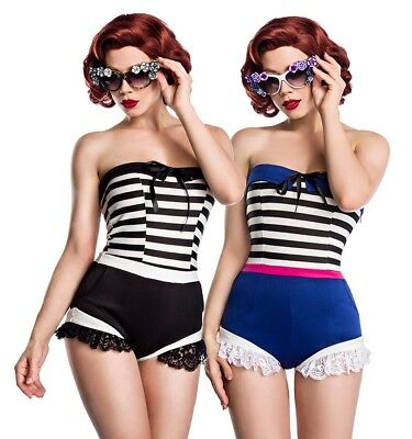 Sexy Bandeau Pin-Up Body Rockabilly Jersey Einteiler Rüschen Retro Vintage 50er