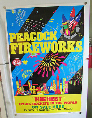 Peacock Fireworks Store Display Advertising Poster Po Sing Fireworks Factory