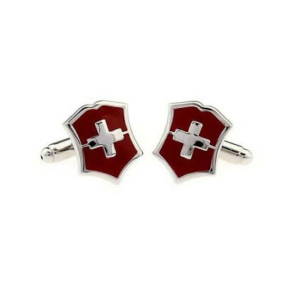 Red Swiss Flag Mens Shirt Cufflinks Cross Cuff Links Unique Decoration Gift