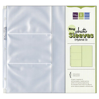 "We R Ring Photo Sleeves 12""X12"" 10/Pkg-(3) 4""X6"" & (1) 12""X6"" Pockets"