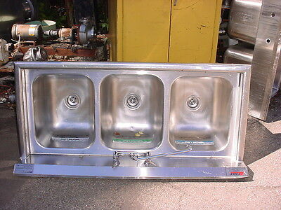 "3 bay stainless steel sink  59"" long"