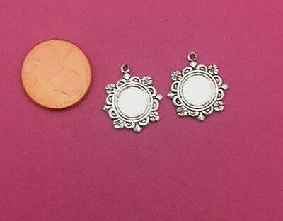Beautiful Antique Silver Plated Brass Ornate Charm - 4 Pcs