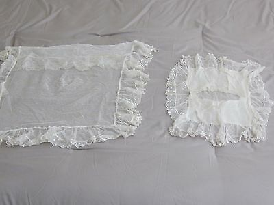 Antique Set Lacey Coverlet Blanket & Pillow Cover For Baby Carriage Pram Buggy