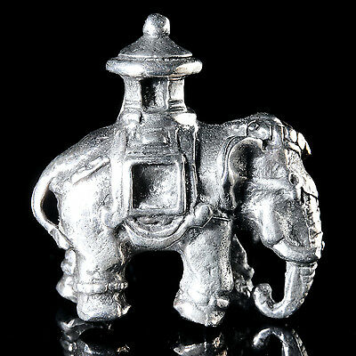 Figurine miniature: Indian Elephant. Solid silver.