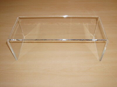 PERSPEX ACRYLIC CABINET DISPLAY RISER SHELF 30cm STAND 6mm thick