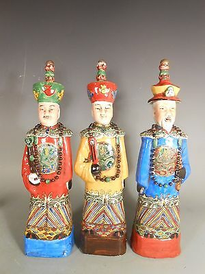 Lot of  China Chinese Polychrome Pottery Figures of Court Officials  ca. 20th c.
