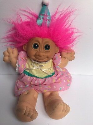 """Vintage 1990's Happy Birthday Troll Doll Plush  15"""" Dress and Hat Pink Hair Girl"""